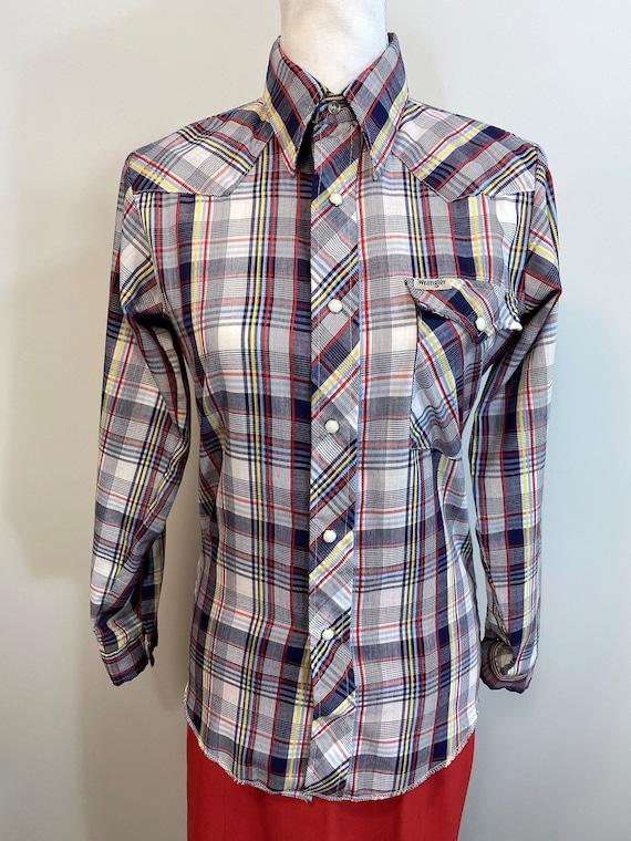 Vintage Blue Plaid Wrangler Western Style Shirt.