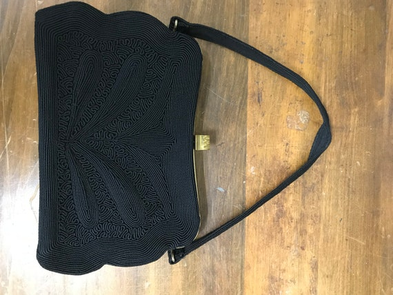 Vintage Black Soutache Handbag.  Quintessential 19