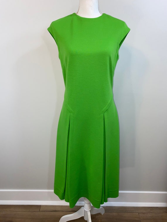 Vintage Neon Lime Green Dress with Pleats.  1960s