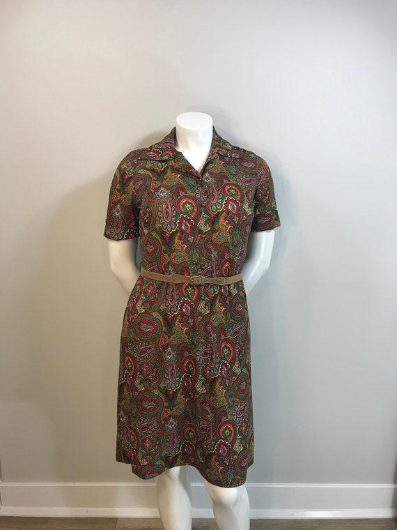 Vintage 1960s Plus Size Nelly Don Jewel Tone Paisl