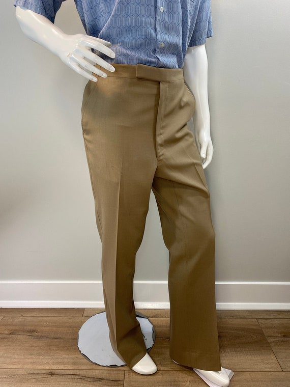Vintage 1970s Mens Khaki Trousers with Adjustable