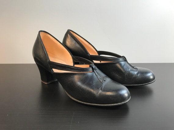 Vintage Daniel Green Comfy Slippers, Black Leather