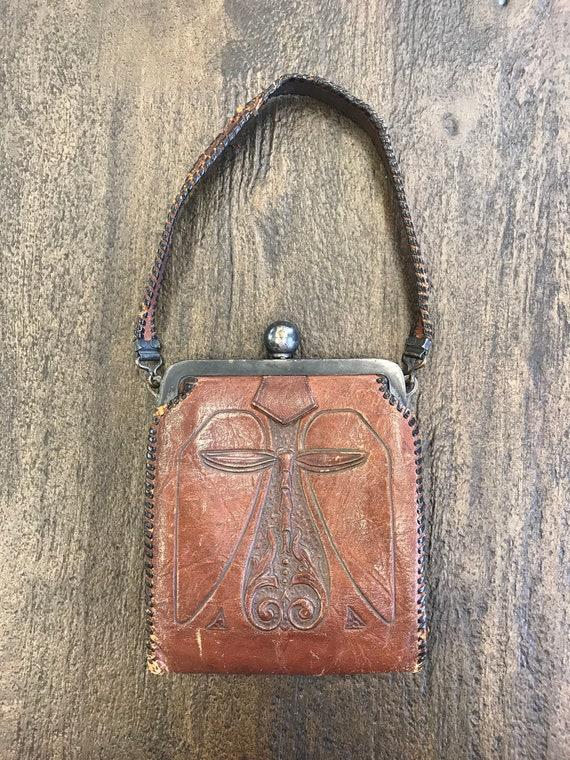 Art Nouveau Tooled Leather Purse, Arts & Crafts To