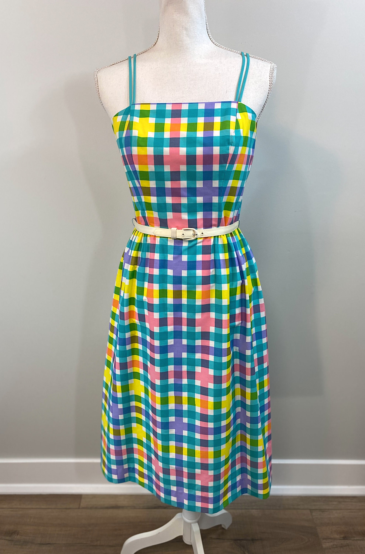 80s Dresses | Casual to Party Dresses Vintage 1980S Vibrant Plaid Pastel Summer Dress By Sea Waves, Size 10 $0.00 AT vintagedancer.com