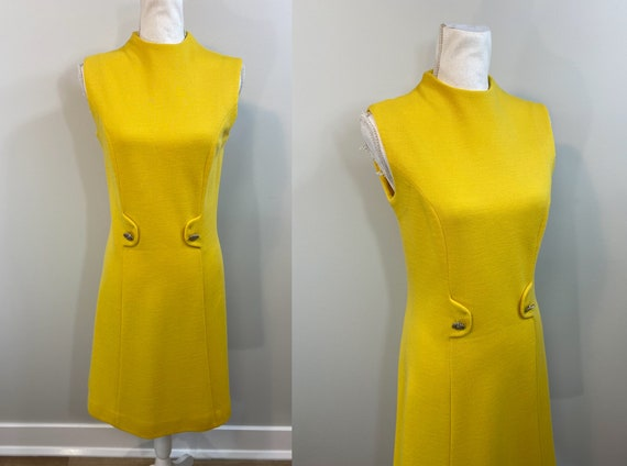 Vintage Canary Yellow Sheath Dress.  1960s Joyce M