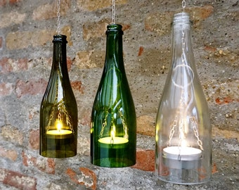 Upcycling hanging lamp/ wind light from a sparkling wine bottle with large tea light (1 piece)