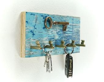 Maritime keyboard made of driftwood (5 hooks)/ hook bar/ unique