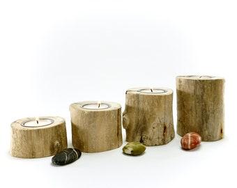 Tea light holder set/ Advent wreath made of teibwood (4 pieces)