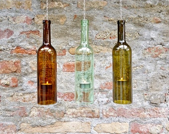 Upcycled hanging lamp from a 0.75 l wine bottle (1st piece)