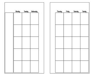 Printable** Month on 2 Page Undated Personal Size
