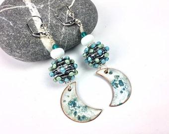 Lampwork Bead Earrings, Blue and white Glass Bead Earrings, Dangle Earrings, Boho-chic Elegant Earrings, Lampwork Jewelry, Enamel Component
