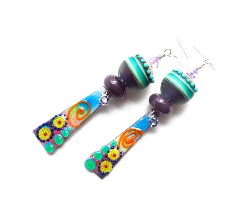 Rainbow Earrings-Colorful Earrings-Dangle Earrings Enamel Earrings-Lampwork Earrings Statement Earrings-Artisan Earrings Long Earrings