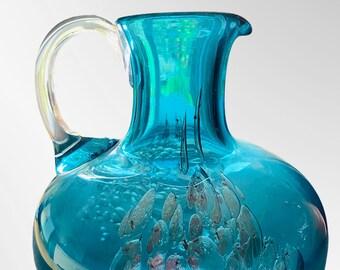 Teal Blue Zwiesel Henkelkrug, Atelier Farbenglaswerke, Series Florida