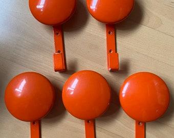 Five 1970s coat hooks in Popart Orange, Retro & Vintage