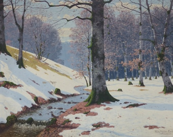 Fritz Müller-Landeck/ Waldbach with Birkenwad / oil painting on canvas