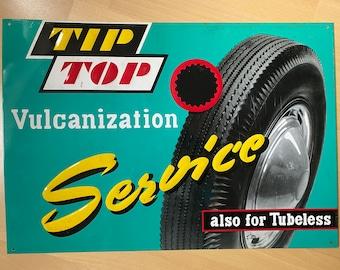 True vintage Tip Top Vulcanization Shield, original 1950s