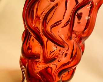 Ruby Red Flower Vase by Pavel Hlava for Borse Glass from the Brain Series