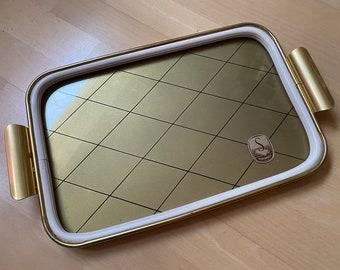 Golden midcentury tray with diamond pattern