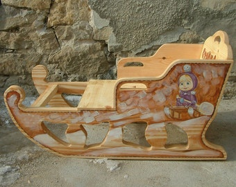 Masha and the Bear sled Wooden sleigh Hand painted winter sled