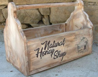Wooden beekeeper toolbox Beemaster honey box Honey shop stand