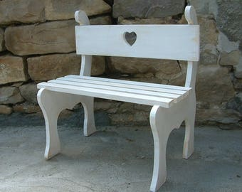 Vintage style wooden bench Photography prop seat Kids furniture Bench with heart
