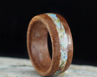 Wooden Ring Handmade From Cherry Wood and Seashell from Adriatic sea