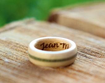 Custom Engraving for inner side of Ligh Colored Wooden Rings