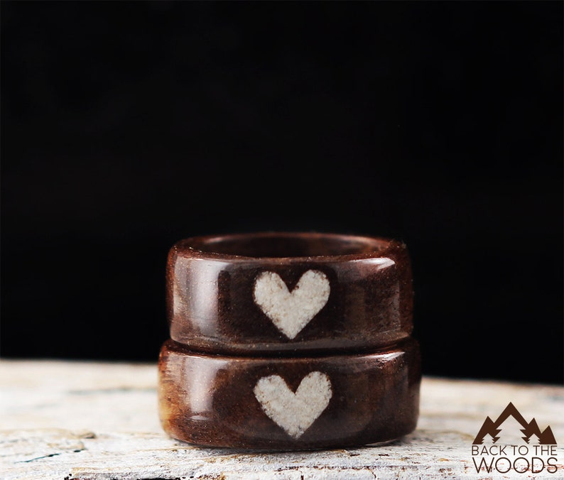 Wooden Ring Handmade From Walnut Wood and White Stone Unisex