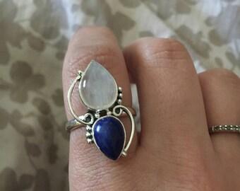 Moonstone, Lapis Lazuli Ring, 925 Sterling Silver Ring, Gemstone Rings, Crystal Rings, Healing Rings