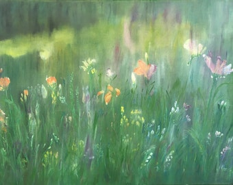After Rain Large Painting Original Oil Painting Modern by Lue Jones Wall Decor Flowers Painting Wild Plants