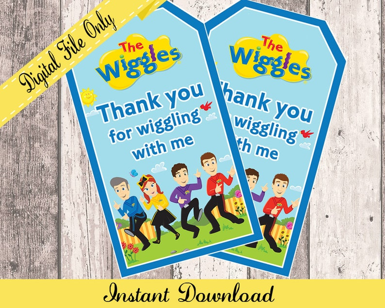 Wiggles Thank You Tags Wiggles Birthday Party Printable Loot Etsy