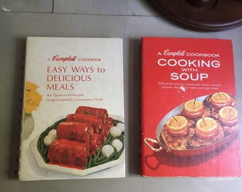 Campbell Cookbook Duo - Cooking with Soup, 1965 and Easy Ways to Delicious Meals, 1968 / Campbell Soup Recipes / Vintage Cookbooks