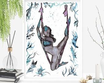 Aerial Princess: arte originale, dipinta ad acquerello su carta. Dedicata a Yoga Aereo, antigravity e danza aerea. Dimensiona A4 21x29,7 cm