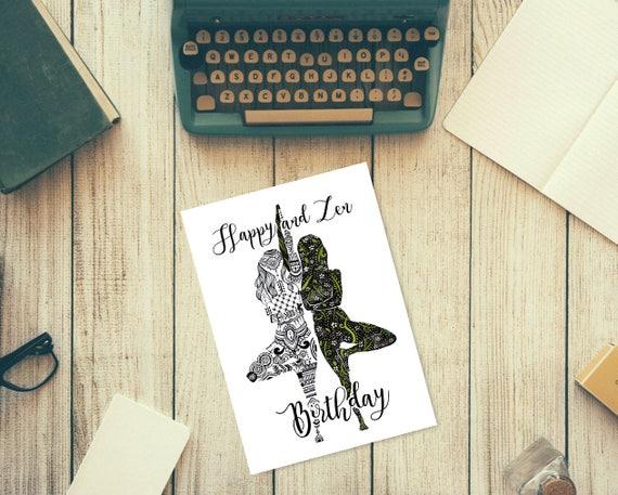Grusskarte Alles Gute Zum Geburtstag Yoga Yin Yang 15 X 21 Etsy