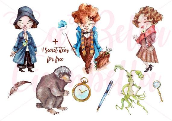 Fantastic Beasts Watercolors Hand Painted Clip Art 9 Pngs Etsy