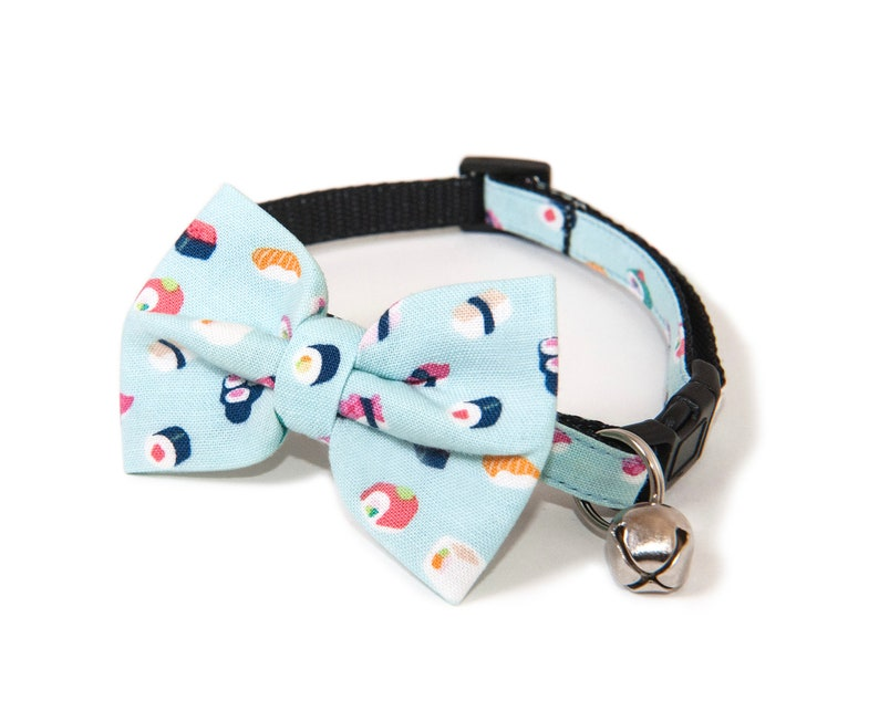 The Sushi  Bow ties for cats  Handmade  Teal bow tie  image 0