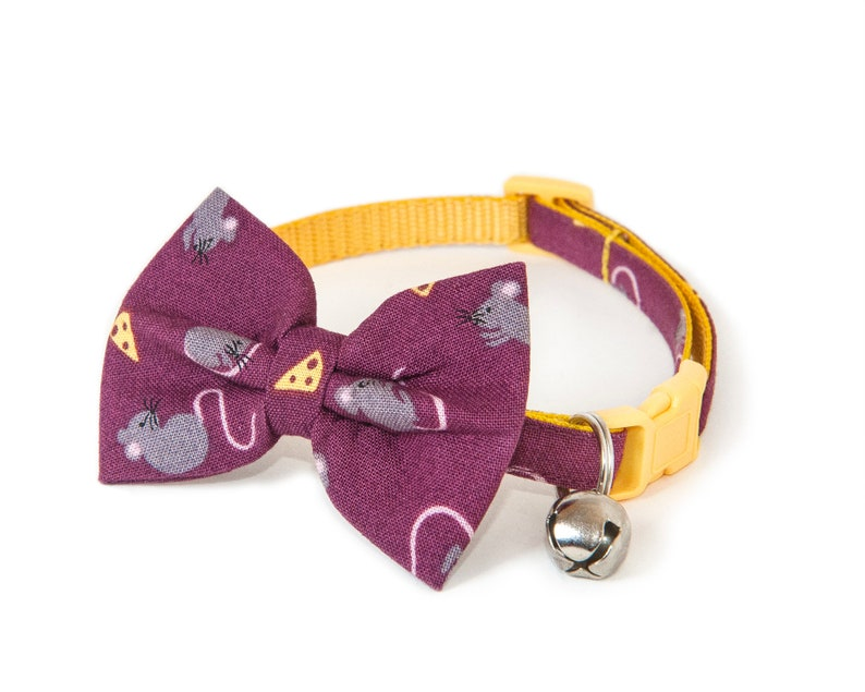 The Cheesy  Bow ties for cats  Handmade  Purple bow tie  image 0