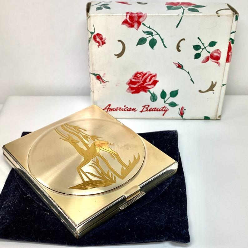 Compact Mirror Powder Compact Vintage American Beauty Powder Compact Art Deco Deer Design