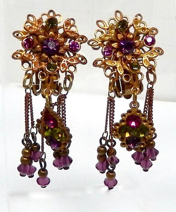 JANNY Earrings, vintage Purple Floral Fringe ear C