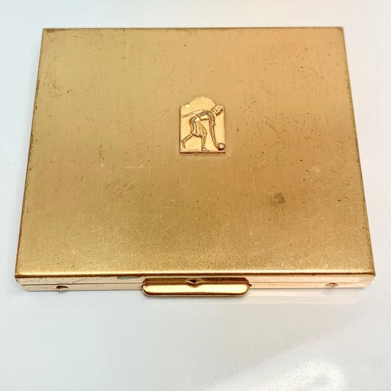 Compact Mirror, Vintage gold tone 1950's compact m