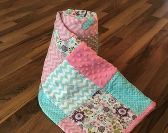 Baby Quilt Personalized Handmade   Minky Baby Blanket   Personalized Baby Gift