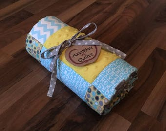 Modern Baby Quilt Handmade Personalized   Minky Baby Blanket   Personalized Baby Gift