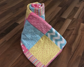 Baby Quilt Handmade Personalized   Minky Baby Blanket   Personalized Baby Gift