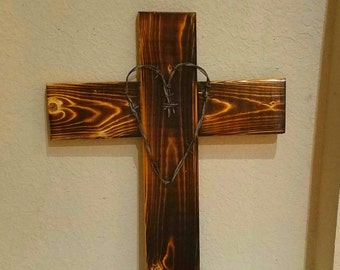 Beautiful Burned Solid Wood Cross With Barbed Wire Shape Heart