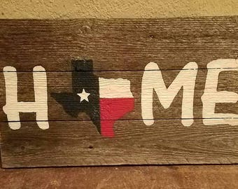 Rustic Wood Shabby Chic Texas HOME Hand Painted Sign