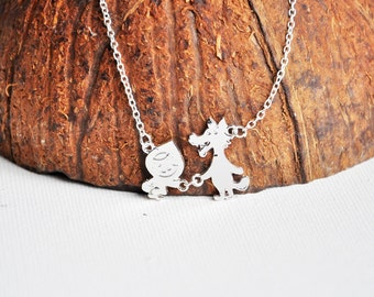 Red riding hood necklace, Wolf necklace, Cartoon necklace, Geek jewelry, Fairy tale necklace, Kids jewellery, Childhood Fairytale, Nostalgic