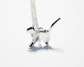 Silver cat necklace, Origami cat, Quirky cat, Cat loss, Memorial necklace, Sympathy gifts, Pet loss gift, Pet keepsake, Remembrance gift, UK