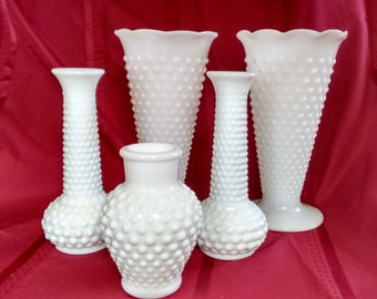 Milk Glass Vases  Hobnail  Weddings   Bridal Showers  Display   Flowers
