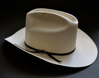1fee4847274952 Vintage Stetson Straw Hat Genuine Shantung Cattleman 10X size 7 1/8 with  original Box