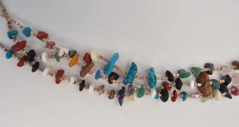 Vintage Native American 3 Strand Heishi Shell and Multi-Stone Nuggets Necklace Permanently reduced